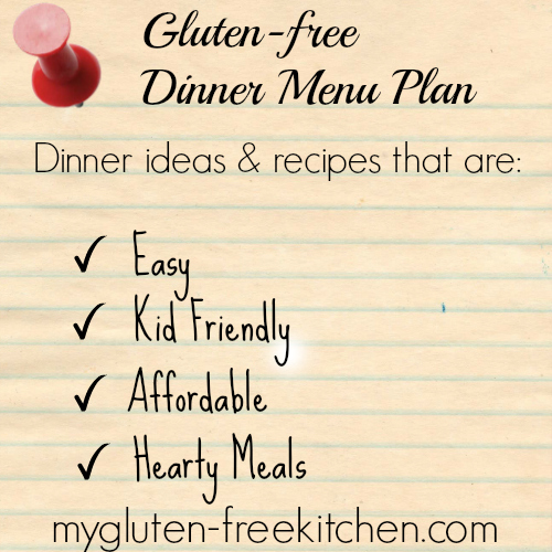 Gluten-free Menu Plan Week 1 Meals