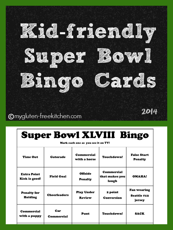 Kid-friendly Super Bowl Bingo Cards 2014 to print