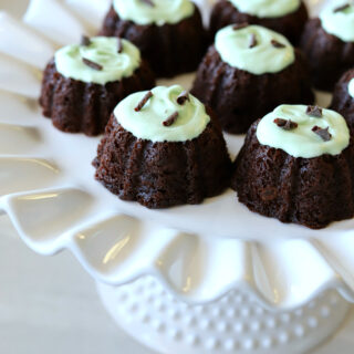 Gluten-free Chocolate Bundt Cakes with Mint Frosting