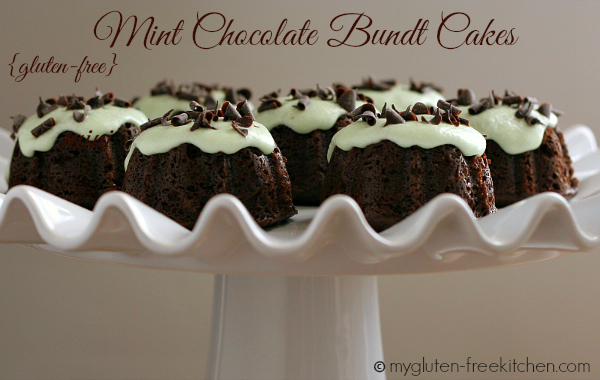 Gluten-free mini Chocolate Bundt Cakes with Mint Frosting