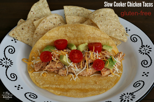 Gluten-free Slow Cooker Chicken Tacos - This easy chicken can also be used for quesadillas, enchiladas and taco salad.