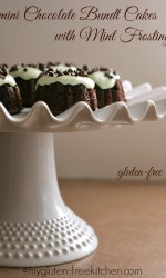 Gluten-free mini Chocolate Bundt Cakes with Mint Frosting - Enjoyable any time of year, but especially festive at St. Patrick's Day and Christmas!