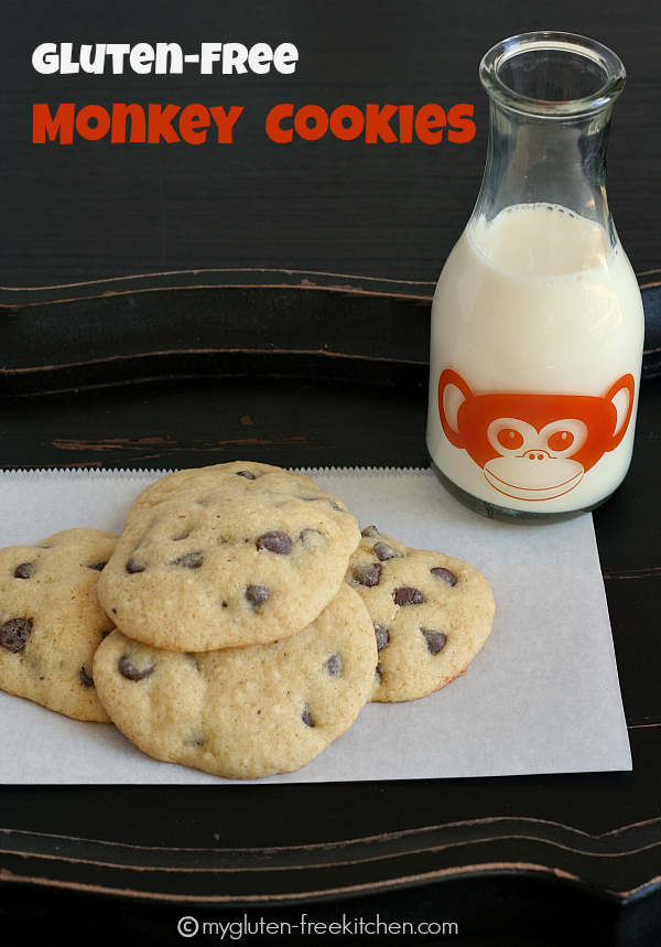Gluten-free Monkey Cookies - aka Banana Chocolate Chip Cookies. Great recipe for when you have 1 overripe banana!