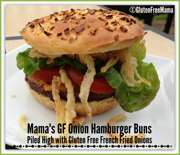 Gluten-free Onion Hamburger Buns with French Fried Onions from Gluten Free Mama