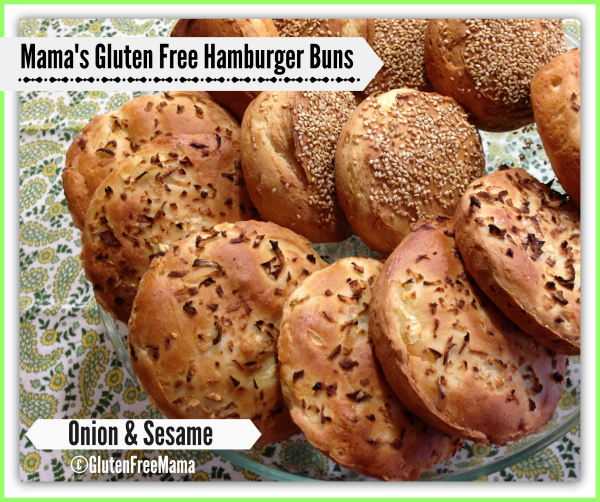 Gluten-free Onion and Sesame Hamburger Buns from Gluten Free Mama