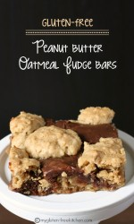Gluten-free Peanut Butter Oatmeal Fudge Revel Bars- These are great for potlucks and parties!