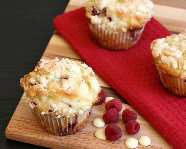 Gluten-free Raspberry White Chocolate Muffins