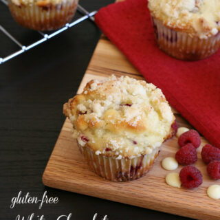Gluten-free White Chocolate Raspberry Muffins - a yummy mid-morning treat!