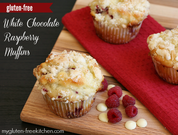 Gluten-free White Chocolate and Raspberry Muffins with Almond Streusel Topping