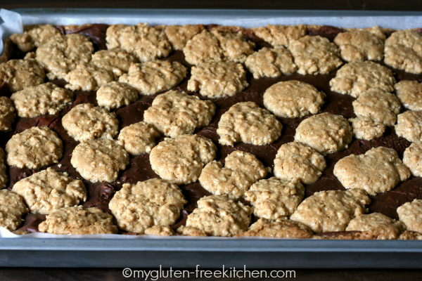 Pan of Gluten-free Peanut Butter Oatmeal Fudge Revel Bars - Perfect for potlucks and parties!