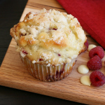 White Chocolate Raspberry Muffins with Almond Streusel Topping
