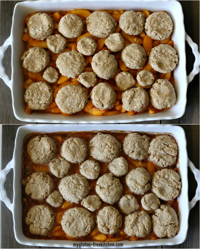 Before and after baking gluten-free peach oatmeal crisp