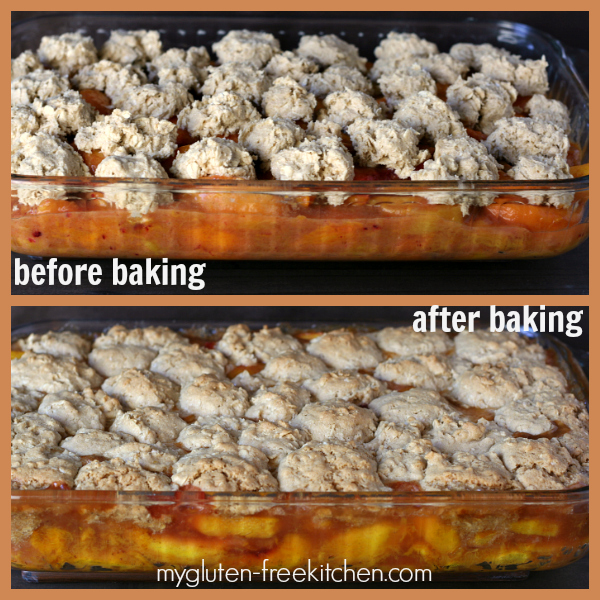 Baking Gluten-free Peach Oatmeal Cookie Crisp