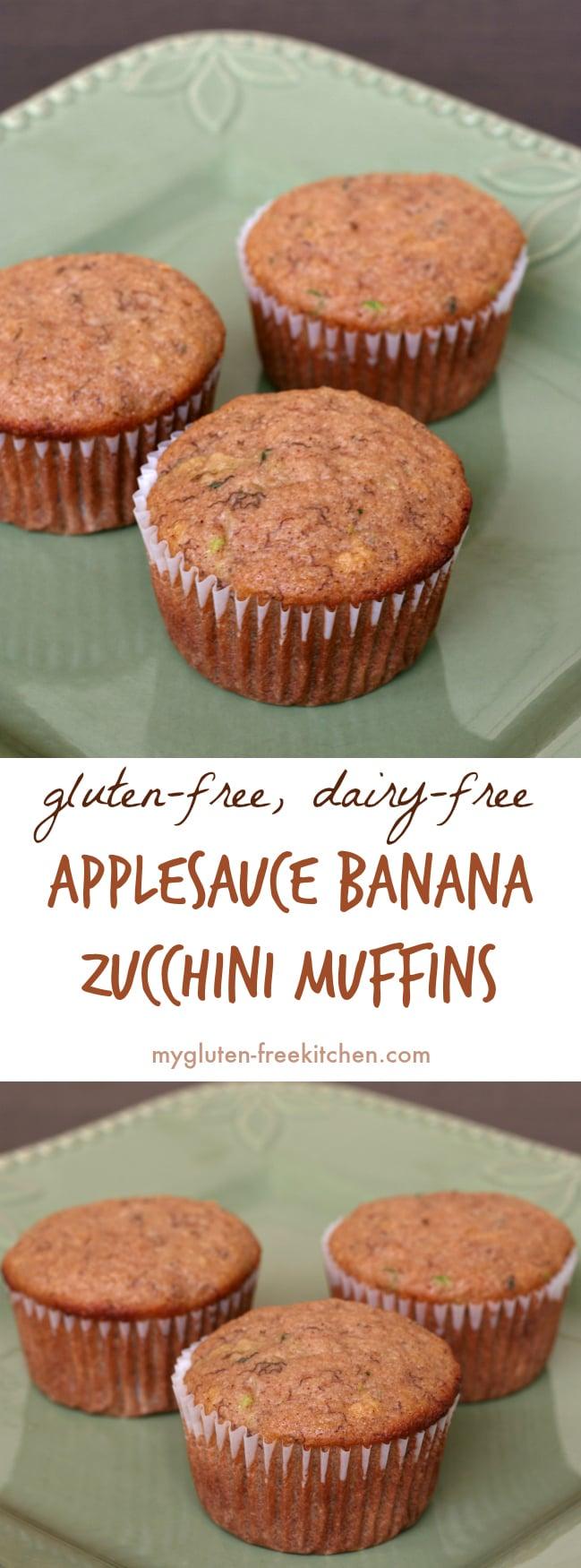 Gluten-free Dairy-free Applesauce Banana Zucchini Muffins Recipe