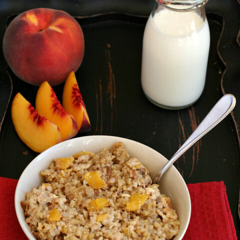 Gluten-free Peaches and Cream Baked Oatmeal - High in fiber from the steel cut oats and flaxseed.