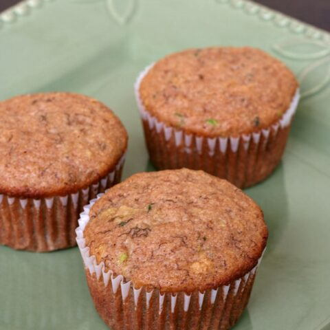 Gluten-free Applesauce Banana Zucchini Muffins {Dairy-free}