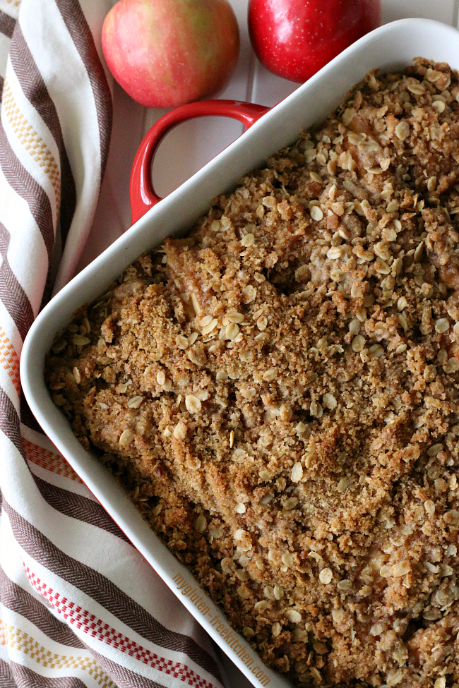 Gluten-free Apple Crisp. Pan of deliciousness! Easy to make gluten-free and dairy-free recipe!