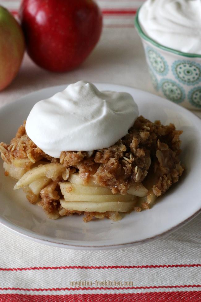 Gluten-free Apple Crisp with fresh whipped cream