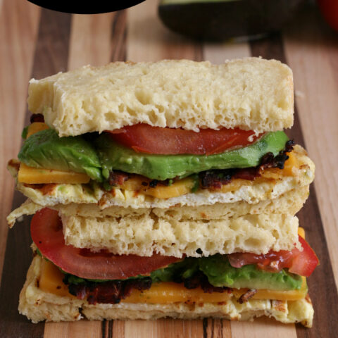 Gluten-free Avocado Bacon and Egg Sandwich