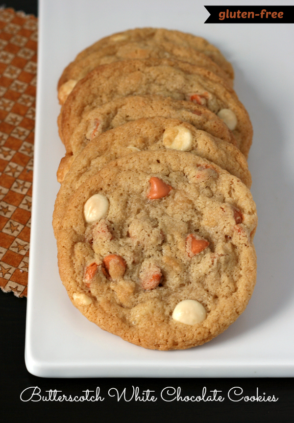 Gluten-free Butterscotch White Chocolate Chip Cookies - Love this flavor combo!