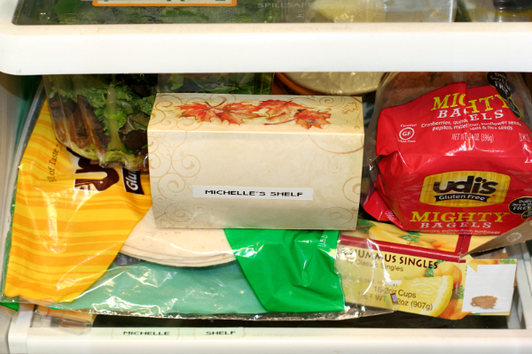 Dedicated gluten-free shelf in fridge. This is one of the ways I stay safe while visiting relatives.