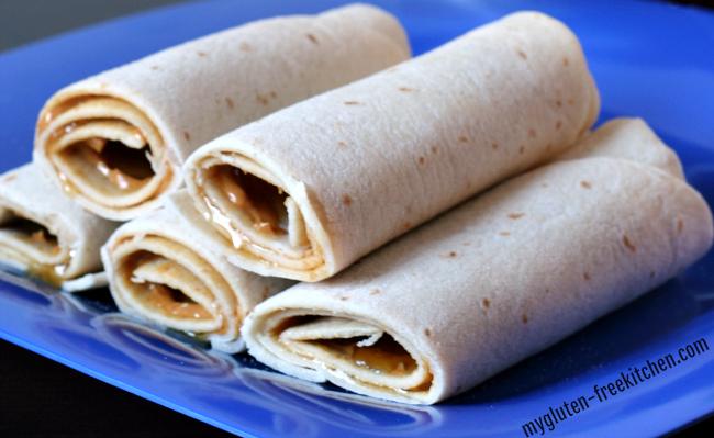 Gluten-free Peanut Butter Tortilla Roll-ups