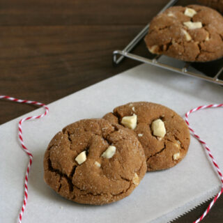 Gluten-free White Chocolate Chunk Gingerbread Cookies Recipe - Great for gift giving!