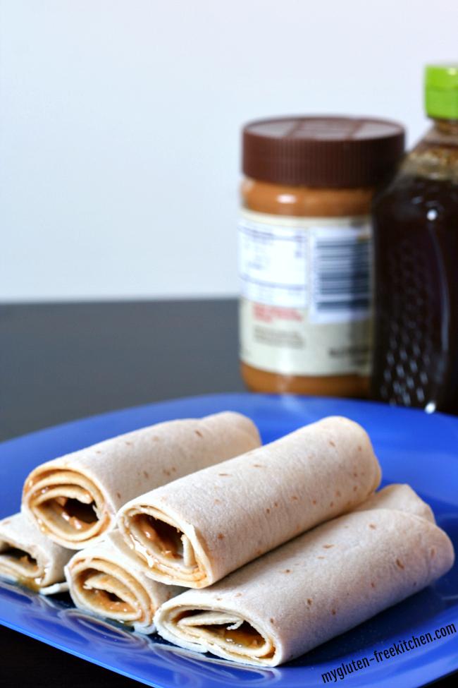 Peanut Butter Tortilla Roll Ups - 3 ingredient easy recipe