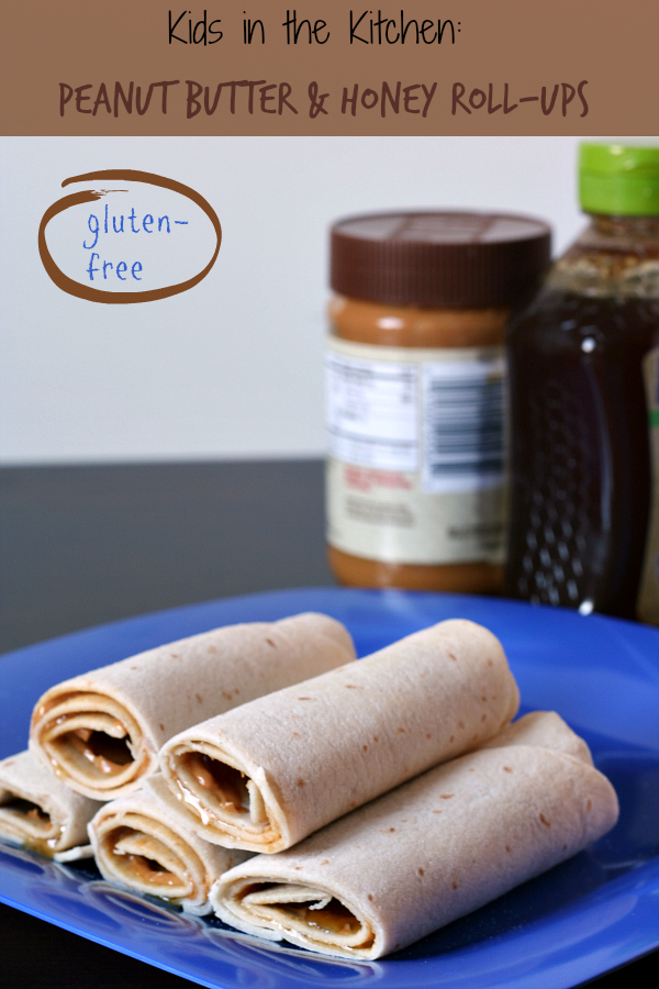 Gluten-free Peanut Butter and Honey Roll-ups - Great after school snack. The Udi's tortilla's don't crack when rolling!