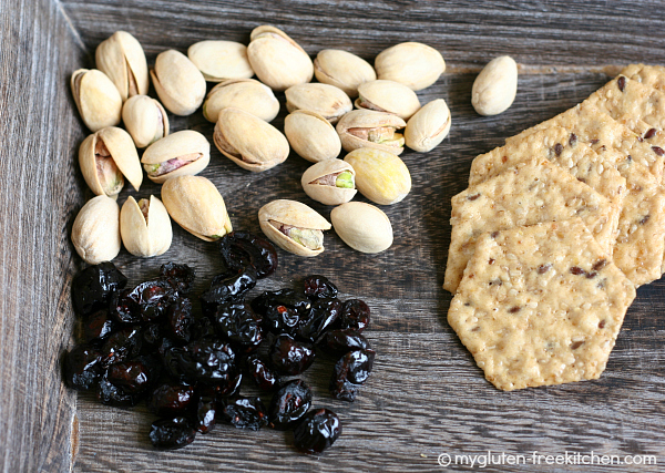Gluten-free Healthy Snack Idea - Pistachios, Cranberries and gluten-free crackers