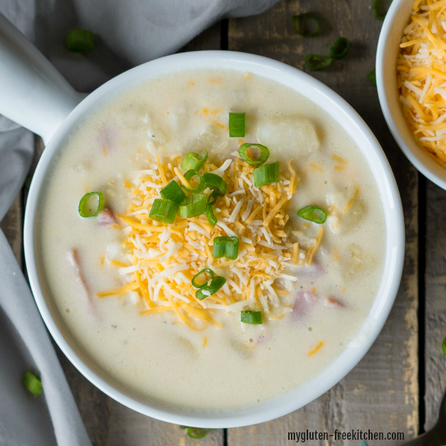Gluten-free Loaded Cheesy Baked Potato Soup