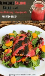 Blackened Salmon Salad with Huckleberry Vinaigrette (Gluten-free) Healthy, easy to make and on the table in 45 minutes! Can use store-bought dressing to make it easier too.