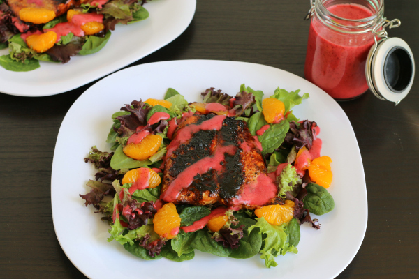 Gluten-free Blackened Salmon Salad with Huckleberry Vinaigrette
