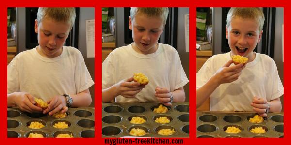 Kids making Ham Mac n Cheese Cups
