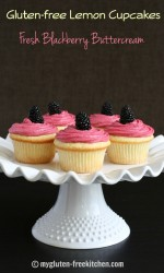 Gluten-free Lemon Cupcakes with Fresh Blackberry Buttercream