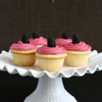 Lemon Buttermilk Cupcakes with Fresh Blackberry Buttercream {Gluten-free}