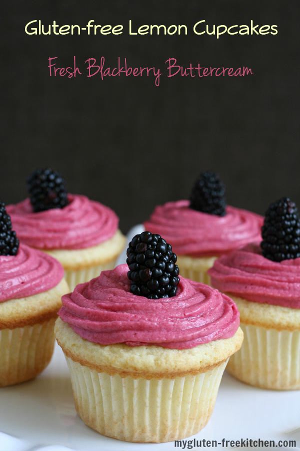 Gluten-free Lemon Cupcakes with Blackberry Buttercream Recipe
