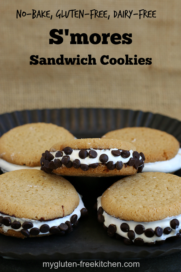 No-Bake Gluten-free Dairy-free S'mores Sandwich Cookies -Gooey and addicting! I couldn't stop eating them!
