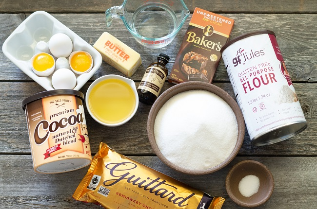 Ingredients for gluten-free brownies