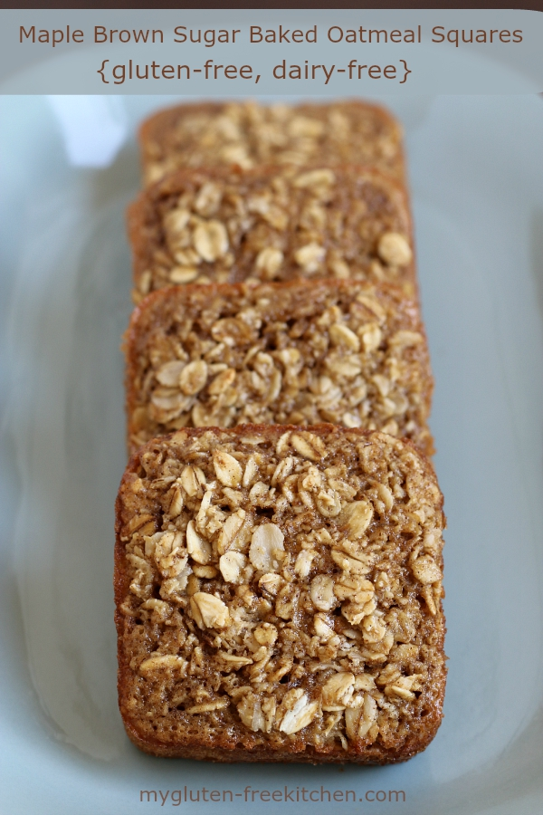 Gluten-free and dairy-free Maple Brown Sugar Baked Oatmeal Squares