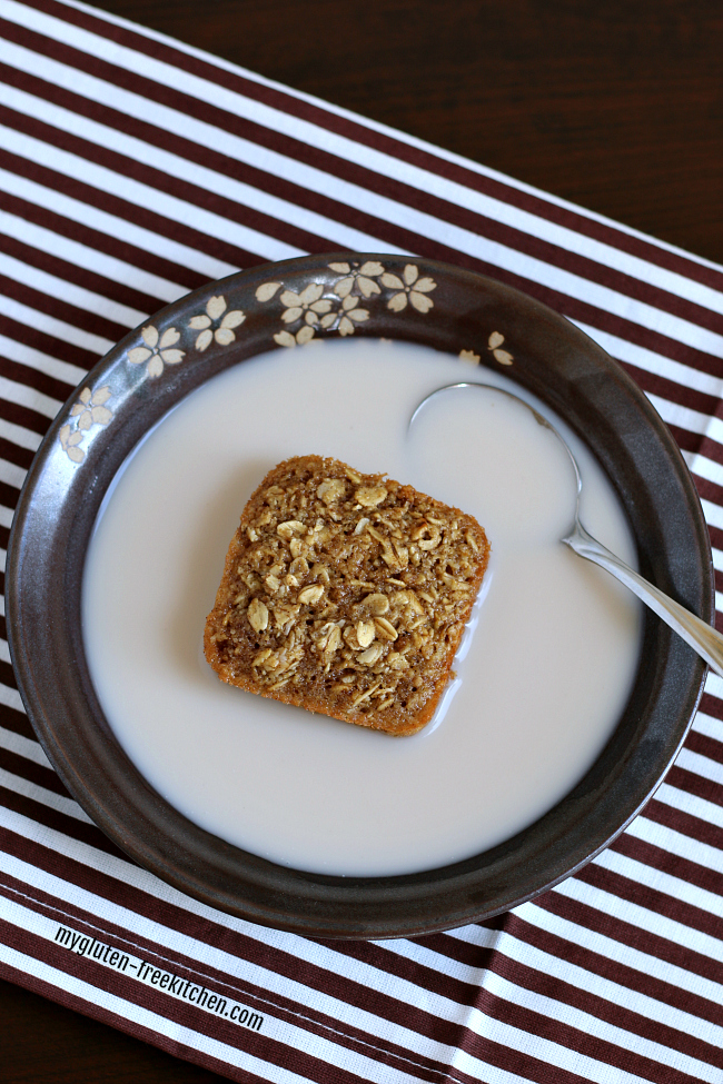 Gluten-free oatmeal squares in bowl of milk