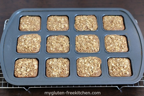 Maple Brown Sugar Baked Oatmeal Squares in bar pan. You can buy a pan like this on Amazon, following the link in the post.