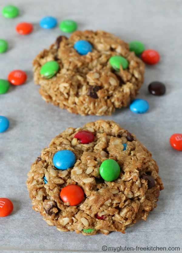 Family Favorite Gluten-free Monster Cookies - Peanut Butter Oatmeal M&M Cookies that kids and adults love!