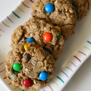 Gluten-free Monster Cookies Recipe. This is an easy flourless cookie recipe with M&Ms, peanut butter and gluten-free oats.