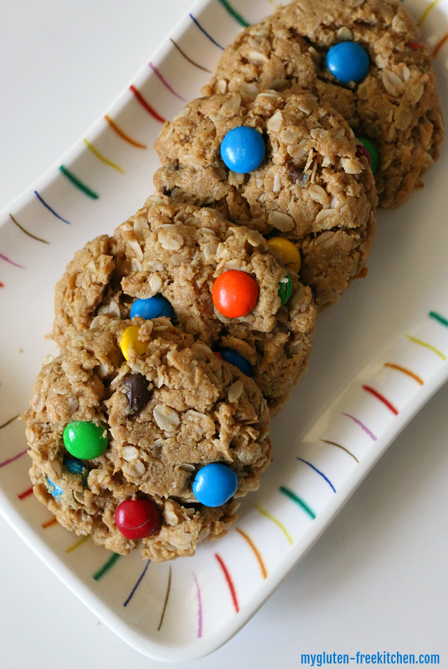 Gluten-free Monster Cookies Recipe. Easy Flourless cookie with M&Ms.