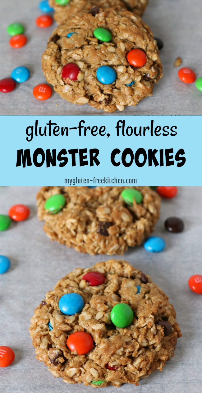Gluten-free Monster Cookies Recipe. Easy flourless cookie that's so yummy! You can even switch up the colors of M&Ms for holidays or parties!