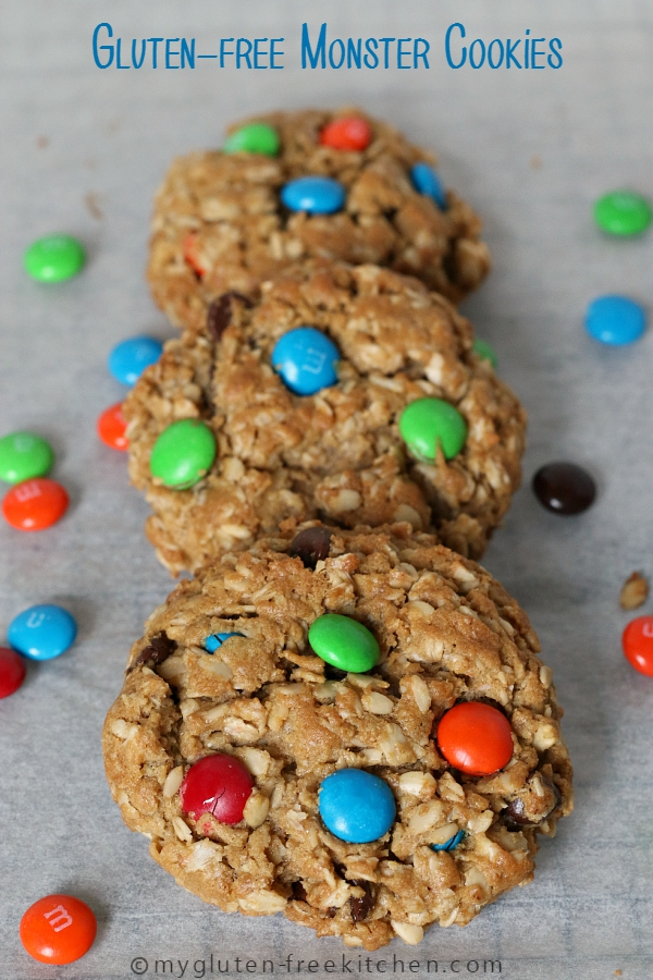 Gluten-free Monster Cookies - Peanut Butter Oatmeal Chocolate Chip M&M cookies! A favorite!