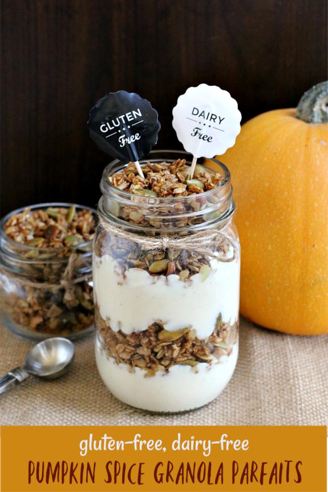 Gluten-free Pumpkin Spice Granola Parfaits dairy-free