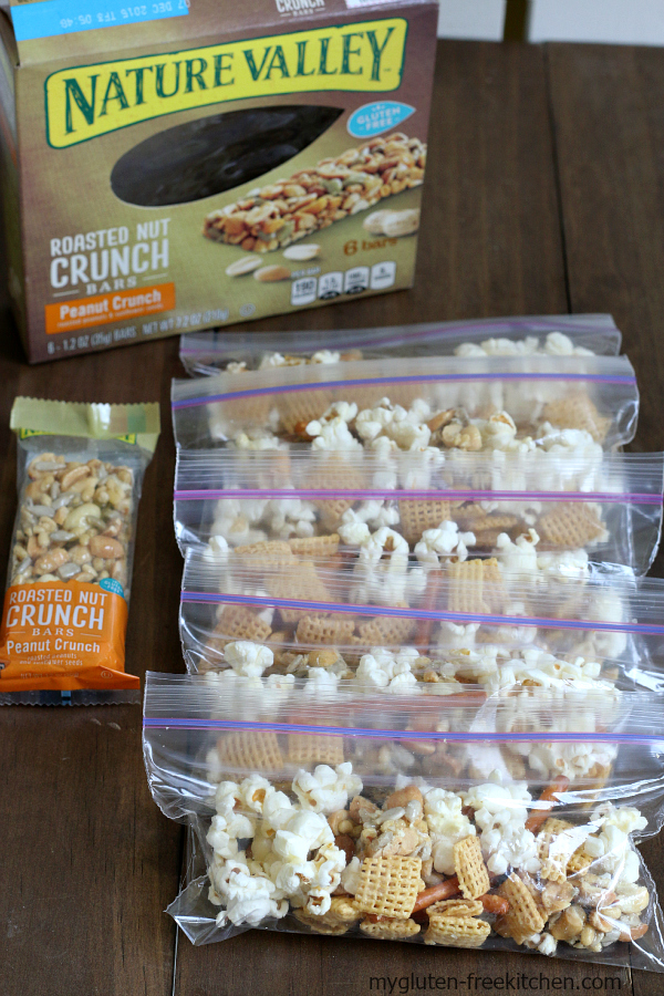 Snack Bags of Sweet Salty Nutty Snack Mix. All packaged up for my kids to enjoy after school or on the go!