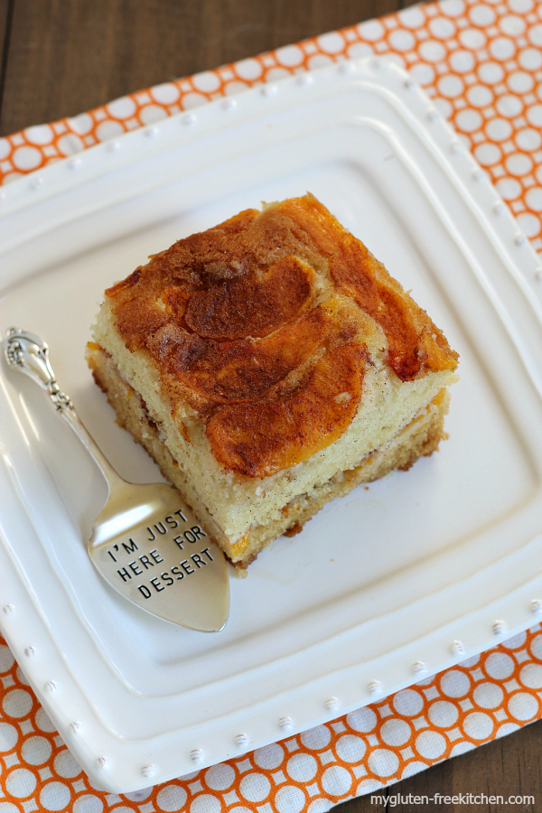Best Gluten-free Peach Cake - Enjoy as dessert or as a coffee cake at brunch. My favorite dessert of 2015!